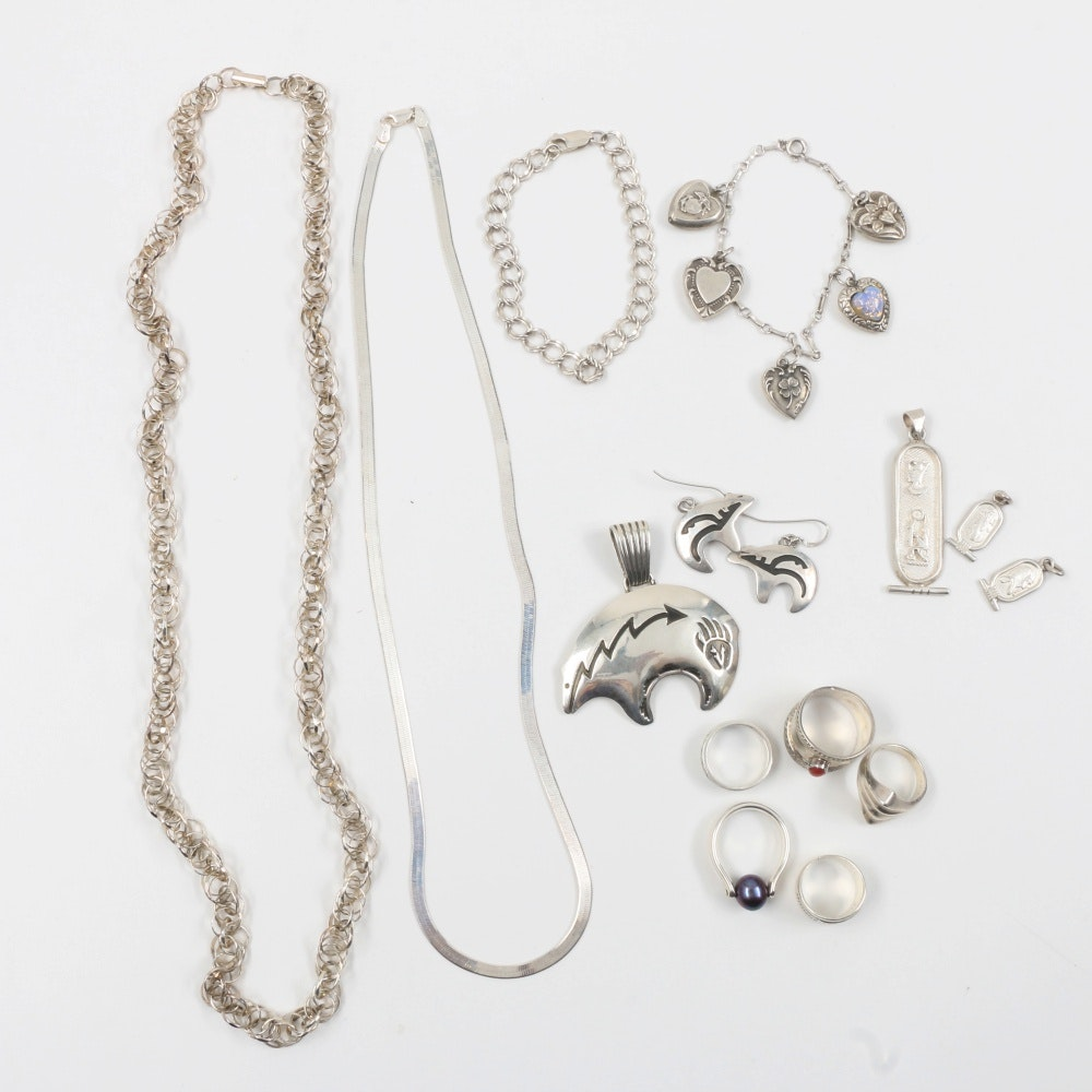 Collection of Sterling Silver and 850 Silver  Jewelry