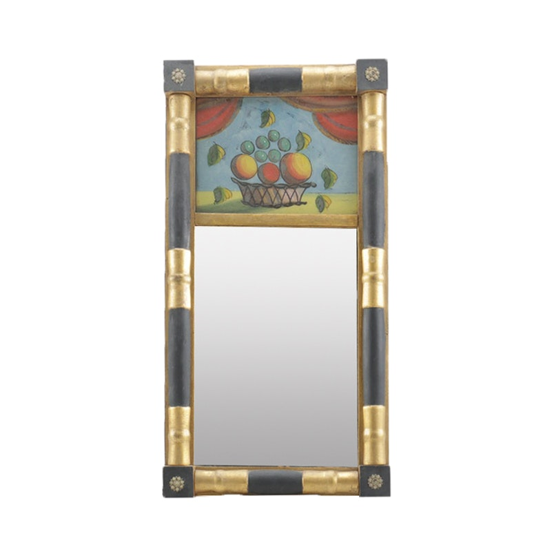 Federal Style Black and Gold-Tone Accented Tabernacle Baluster Wall Mirror