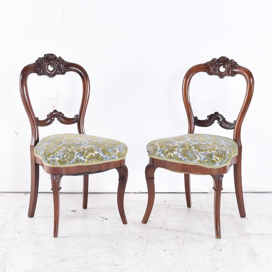 Pair Of Victorian Style Balloon Back Chairs