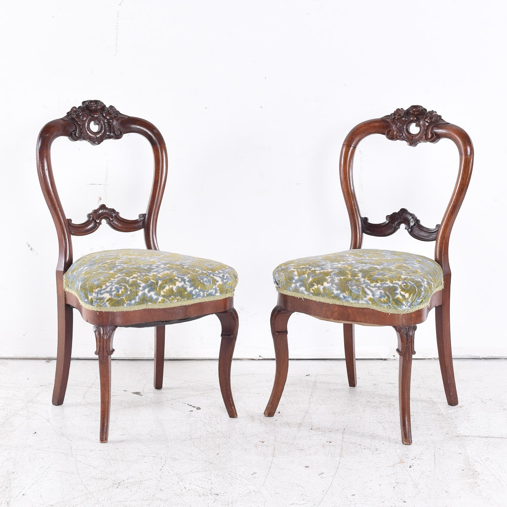 Pair Of Victorian Style Balloon Back Chairs ...
