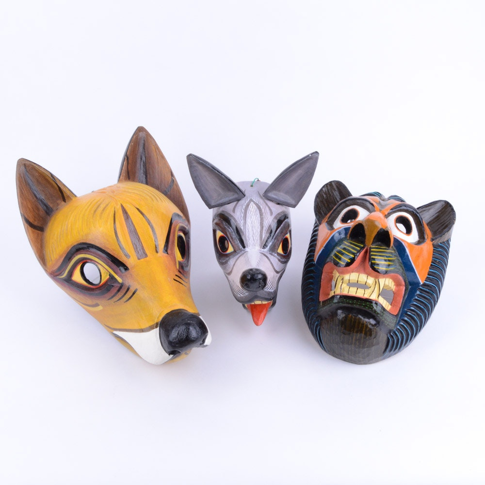 Hand Carved Wooden Masks from Ecuador