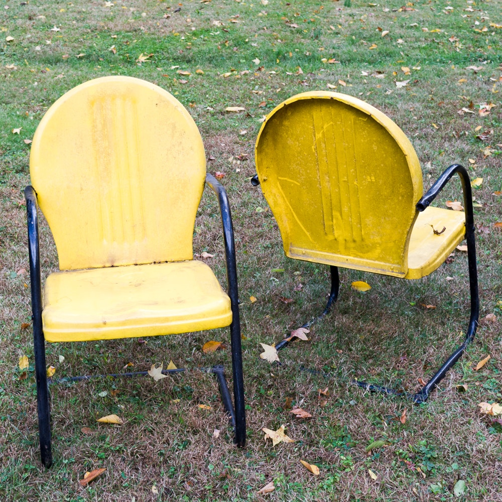 Vintage Yellow Patio Chairs