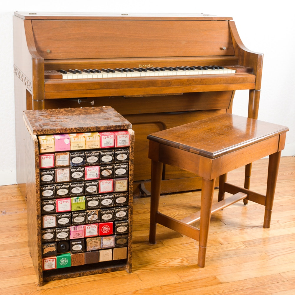 Pianola Spinet Player Piano with Bench and Sheet Music Rolls