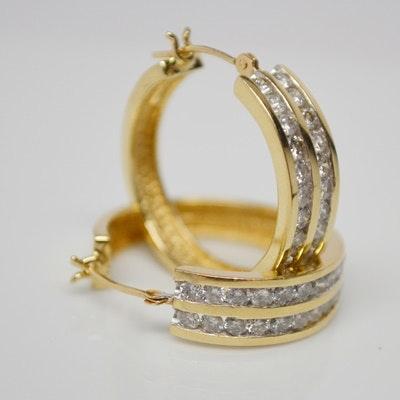 14K Yellow Gold Diamond Hoop Pierced Earrings