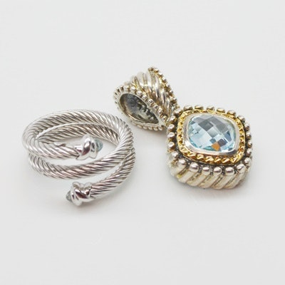 Sterling Silver 18K Yellow Gold Blue Topaz Pendant and Ring