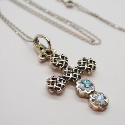 Sterling Silver and Abalone Celtic Cross Pendant Necklace