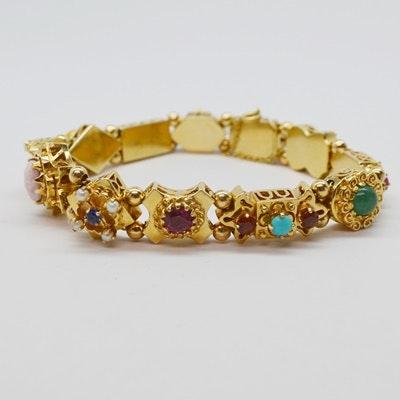 Victorian Style 14K Yellow Gold Gemstone Slide Bracelet
