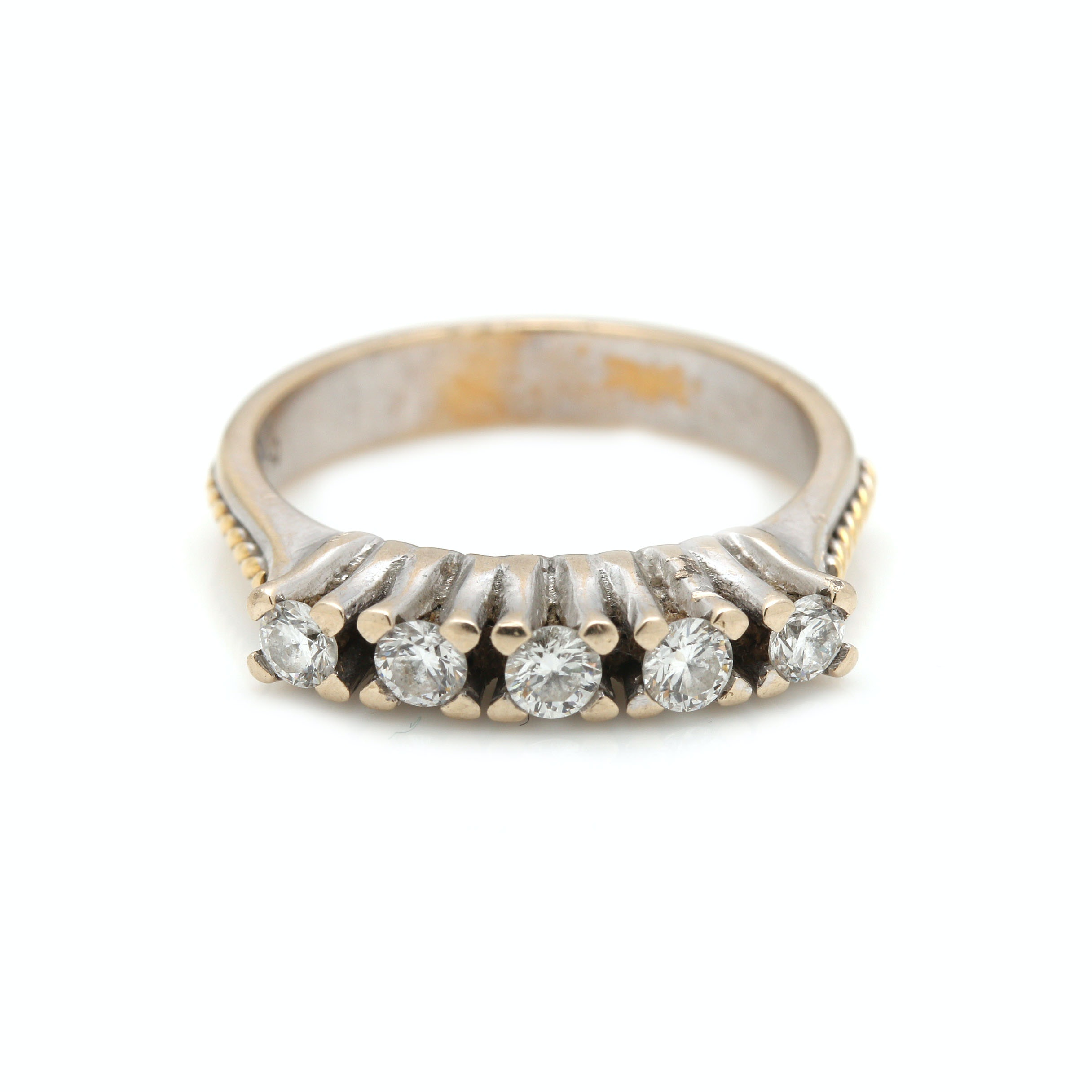 18K White Gold Band Style Diamond Ring With Yellow Gold Accents