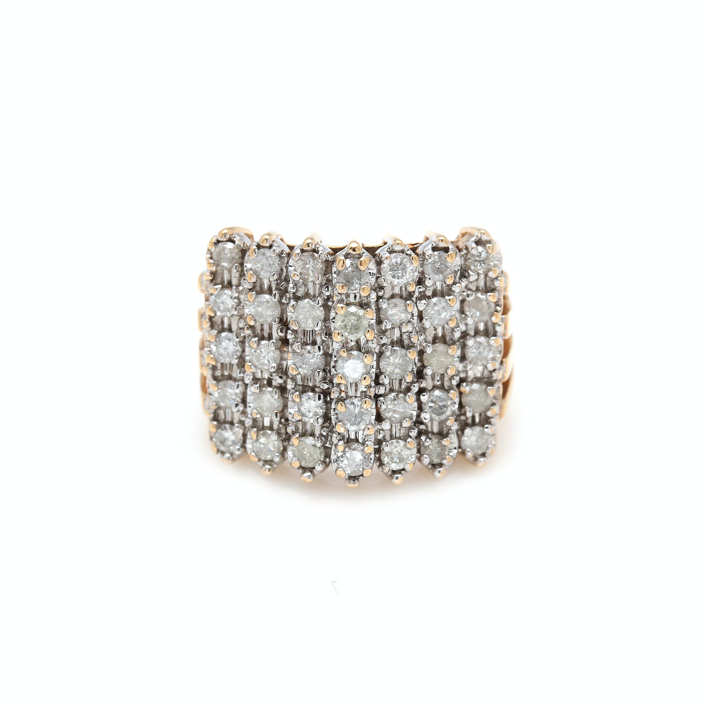 14K Yellow Gold 1.00 CTW Diamond Cluster Ring