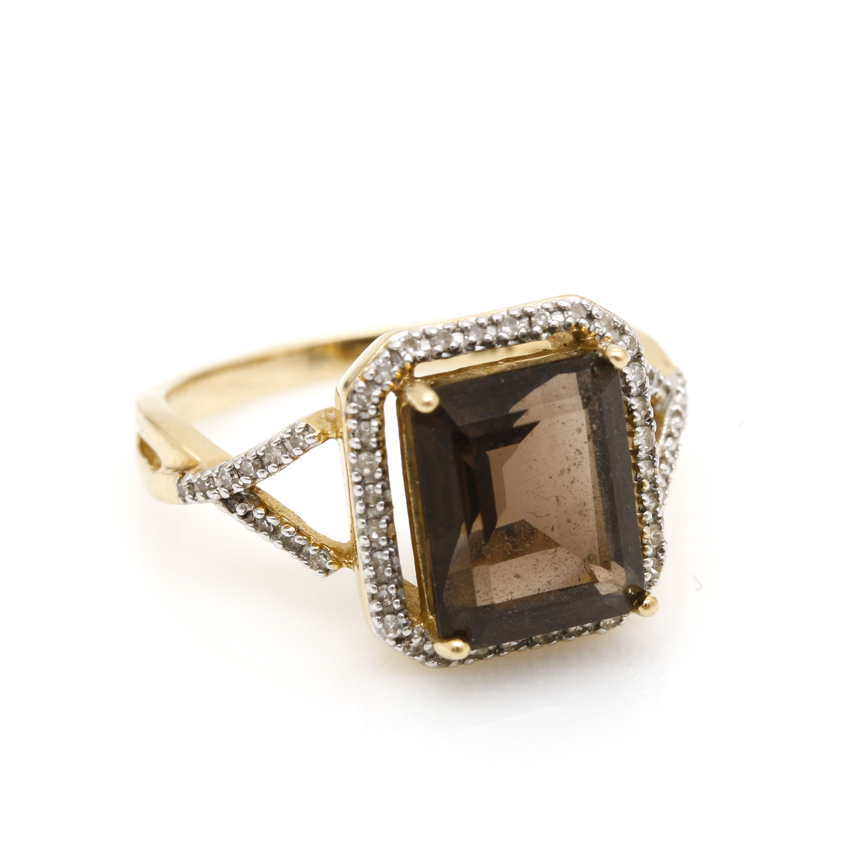 14K Yellow Gold Smoky Quartz and Diamond Ring