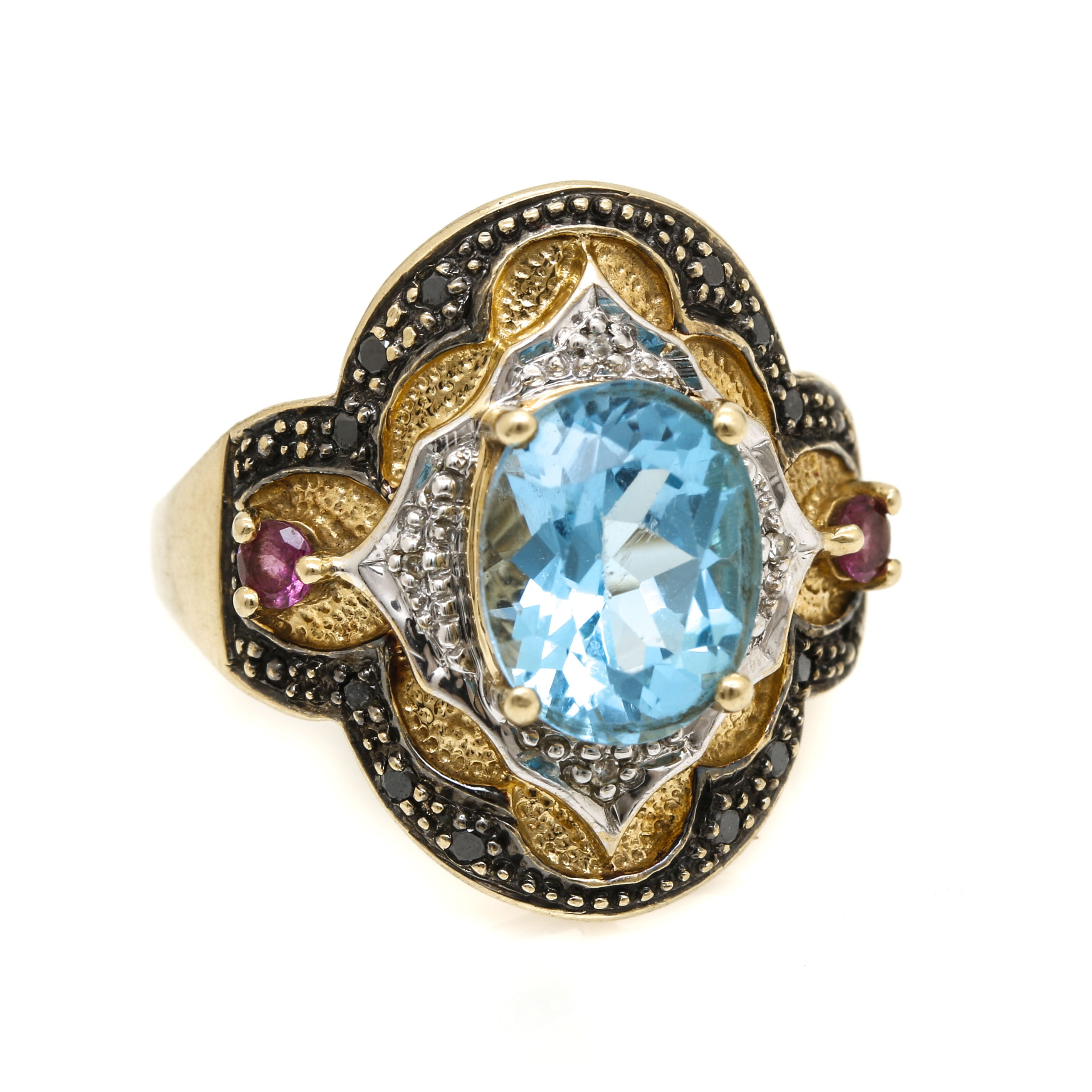 10K Yellow Gold Blue Topaz, Pink Tourmaline, and Diamond Ring