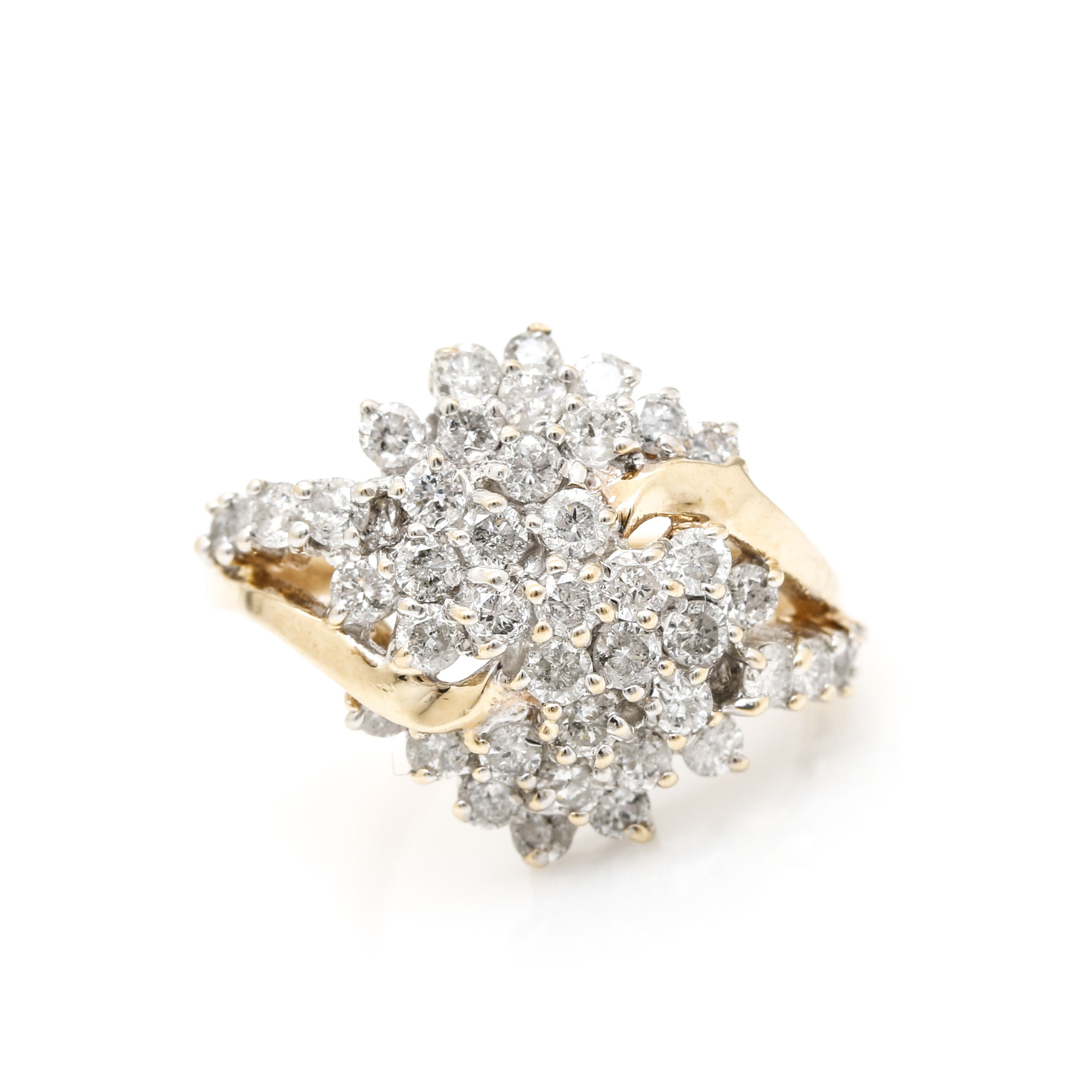 10K Yellow Gold 1.50 CTW Diamond Cluster Ring