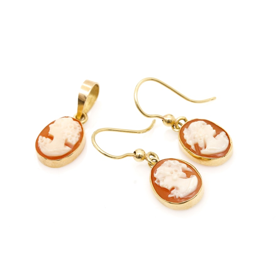 18k Yellow Gold Cameo Earrings And Pendant