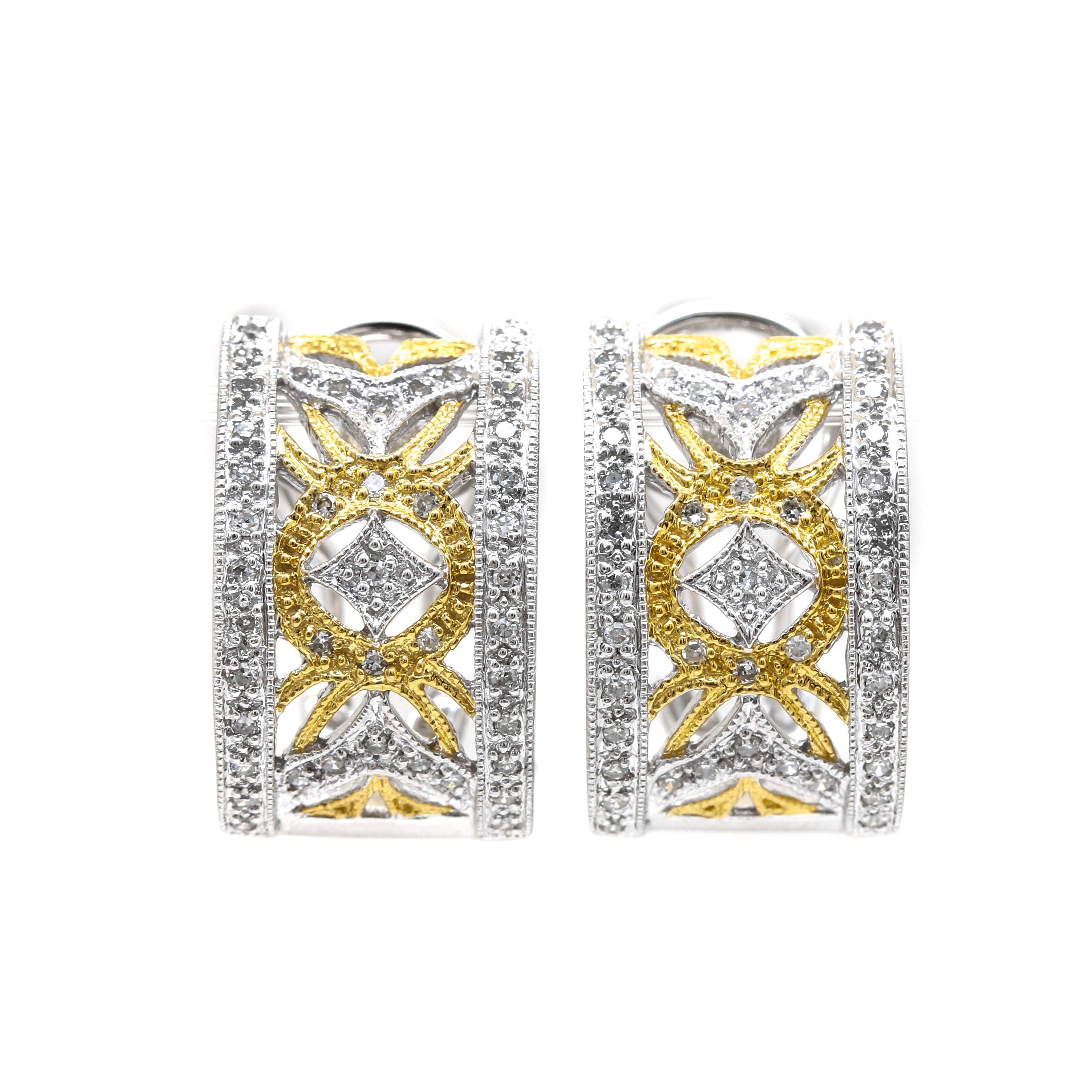 14K Bi-Color Gold and Diamond Half Hoop Earrings