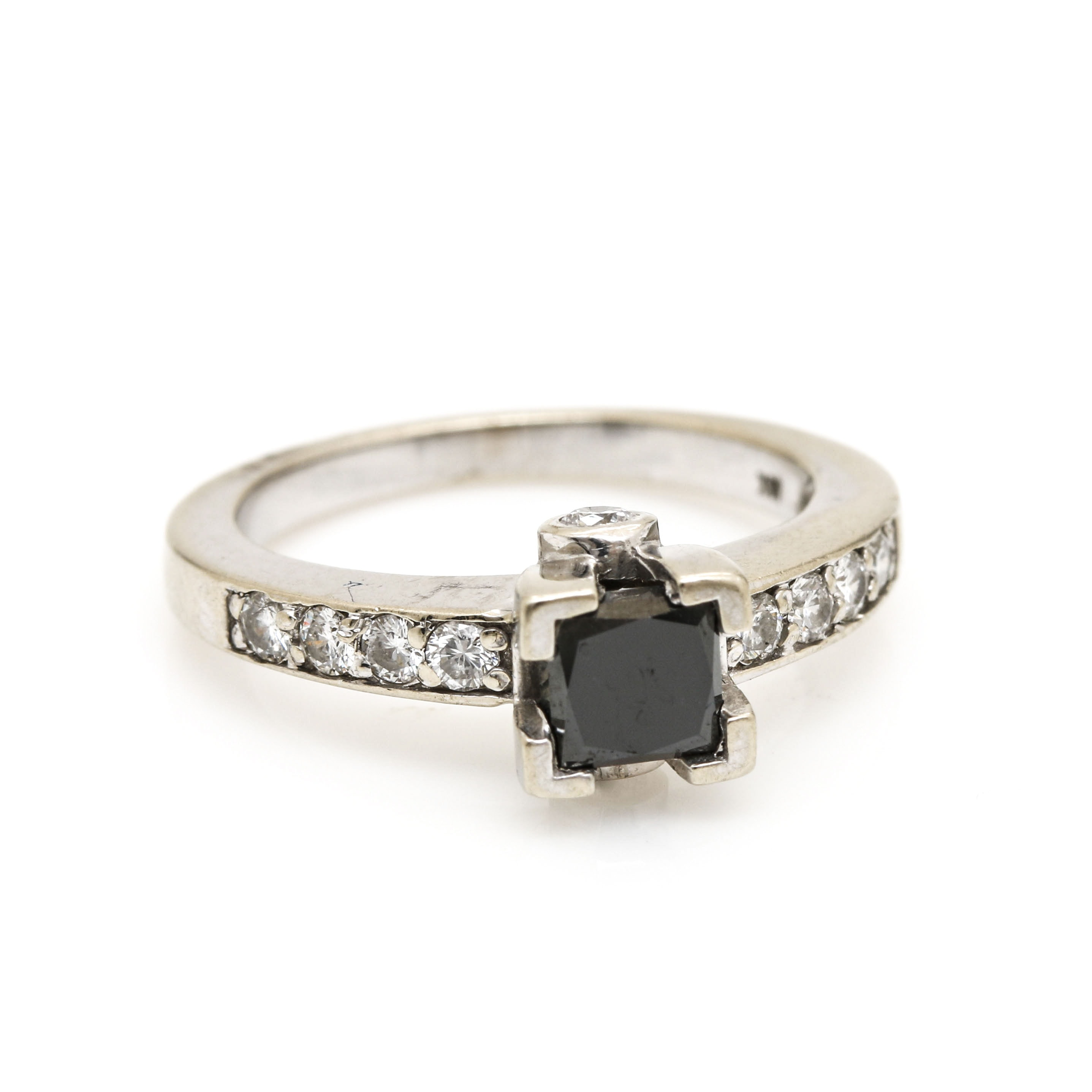 18K White Gold Black Moissanite and Diamond Ring