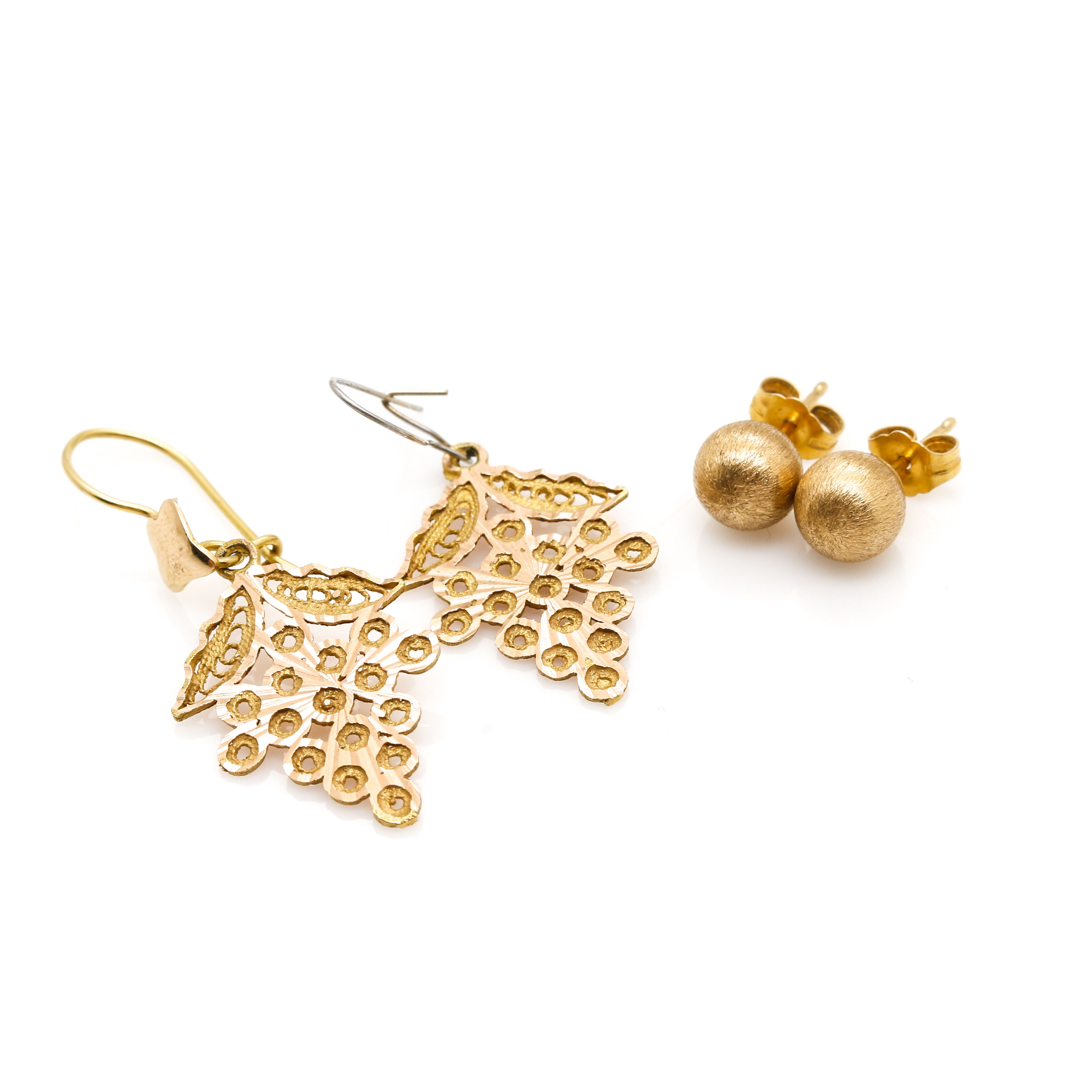 14K Yellow Gold Post and Dangle Earrings