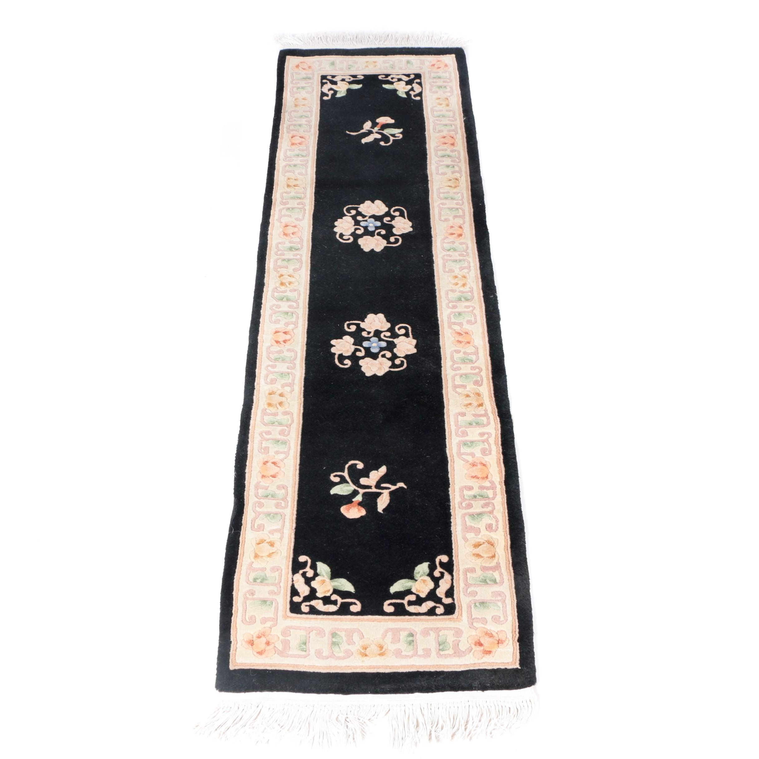 Hand-Knotted and Carved Chinese Old Peking-Style Carpet Runner