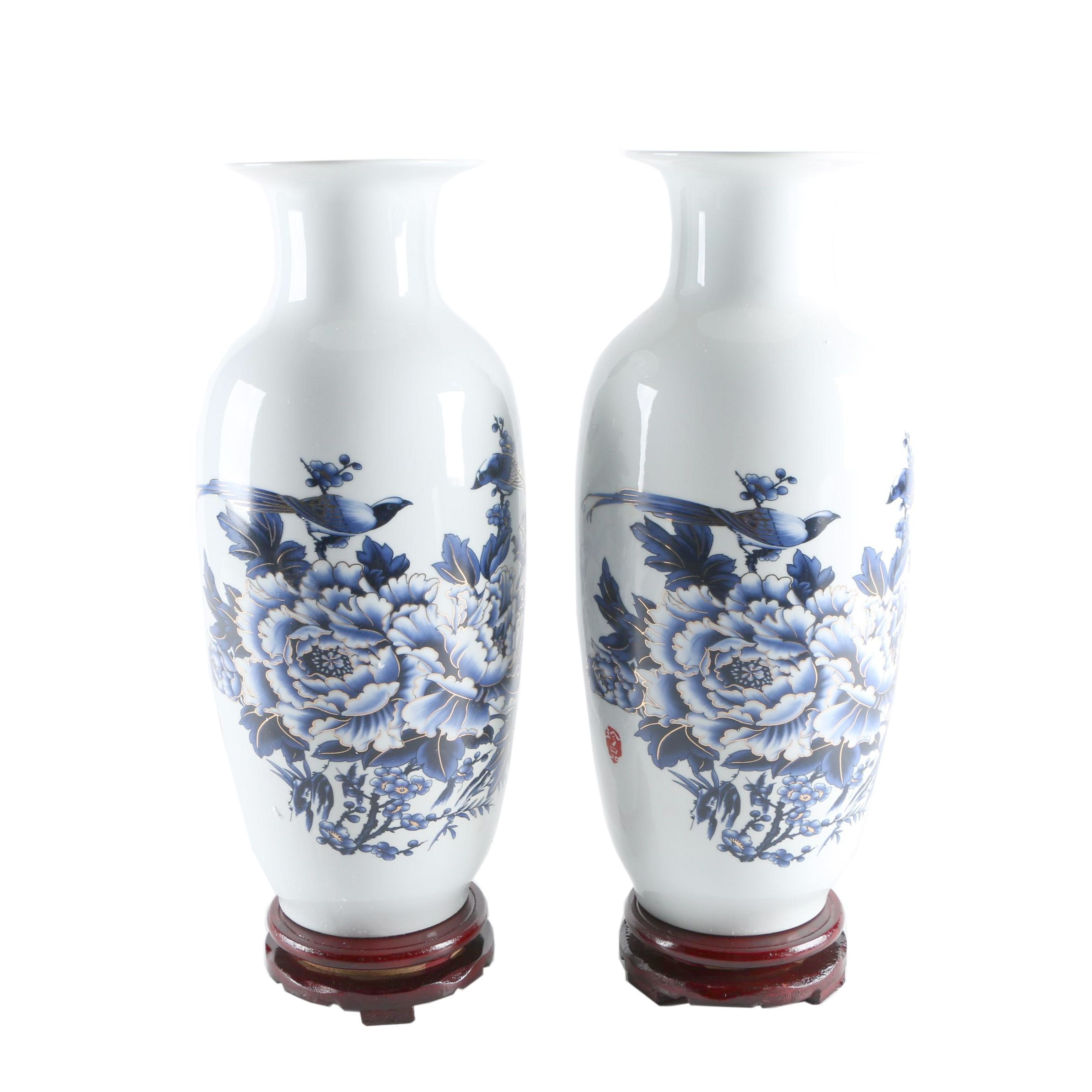 Pair of Blue and Whtie Chinese Exportware Vases
