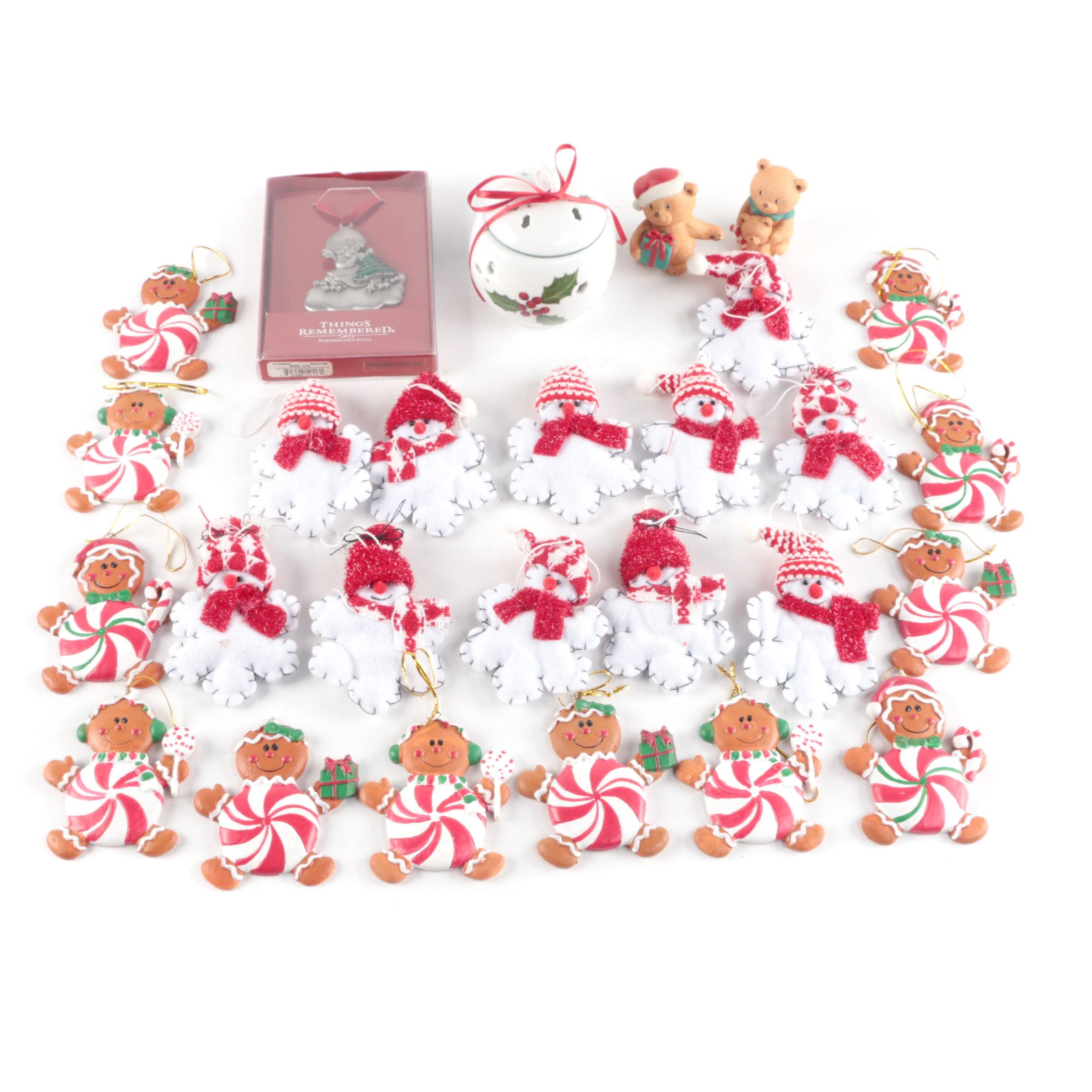 Set of Christmas Ornaments and Decor