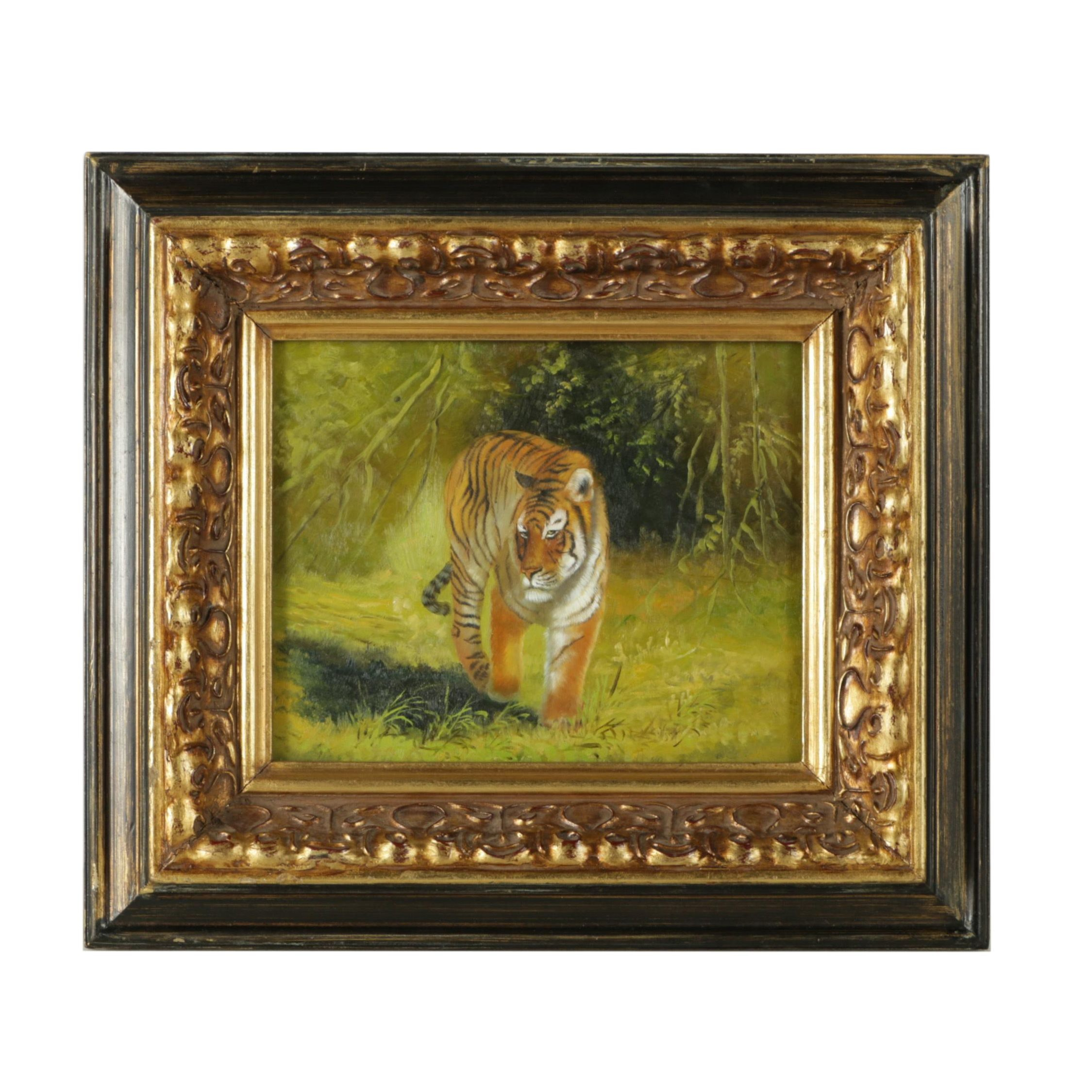 Oil Painting on Board of a Bengal Tiger