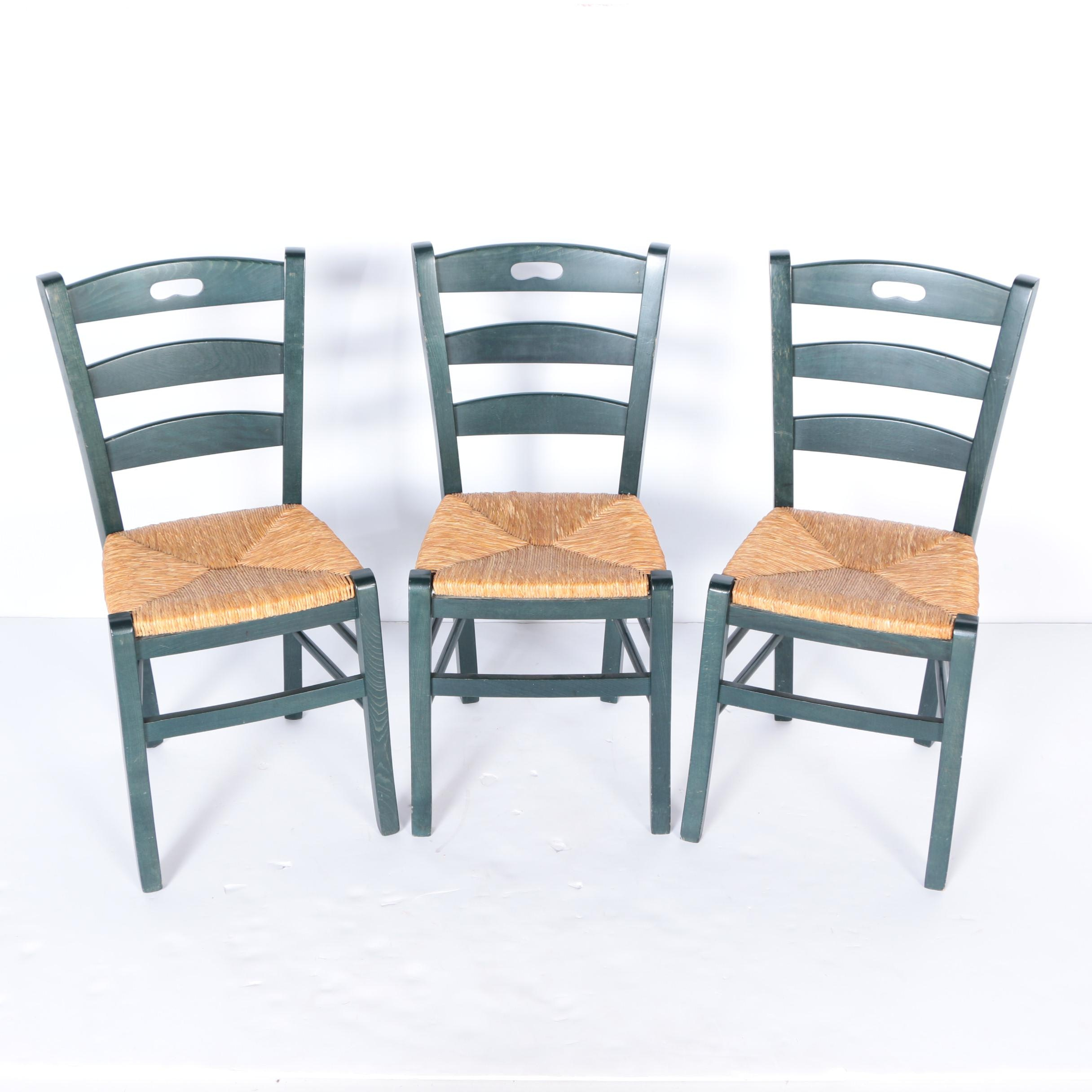 Merveilleux Set Of Three Pottery Barn Ladder Back Chairs With Rush Seats ...