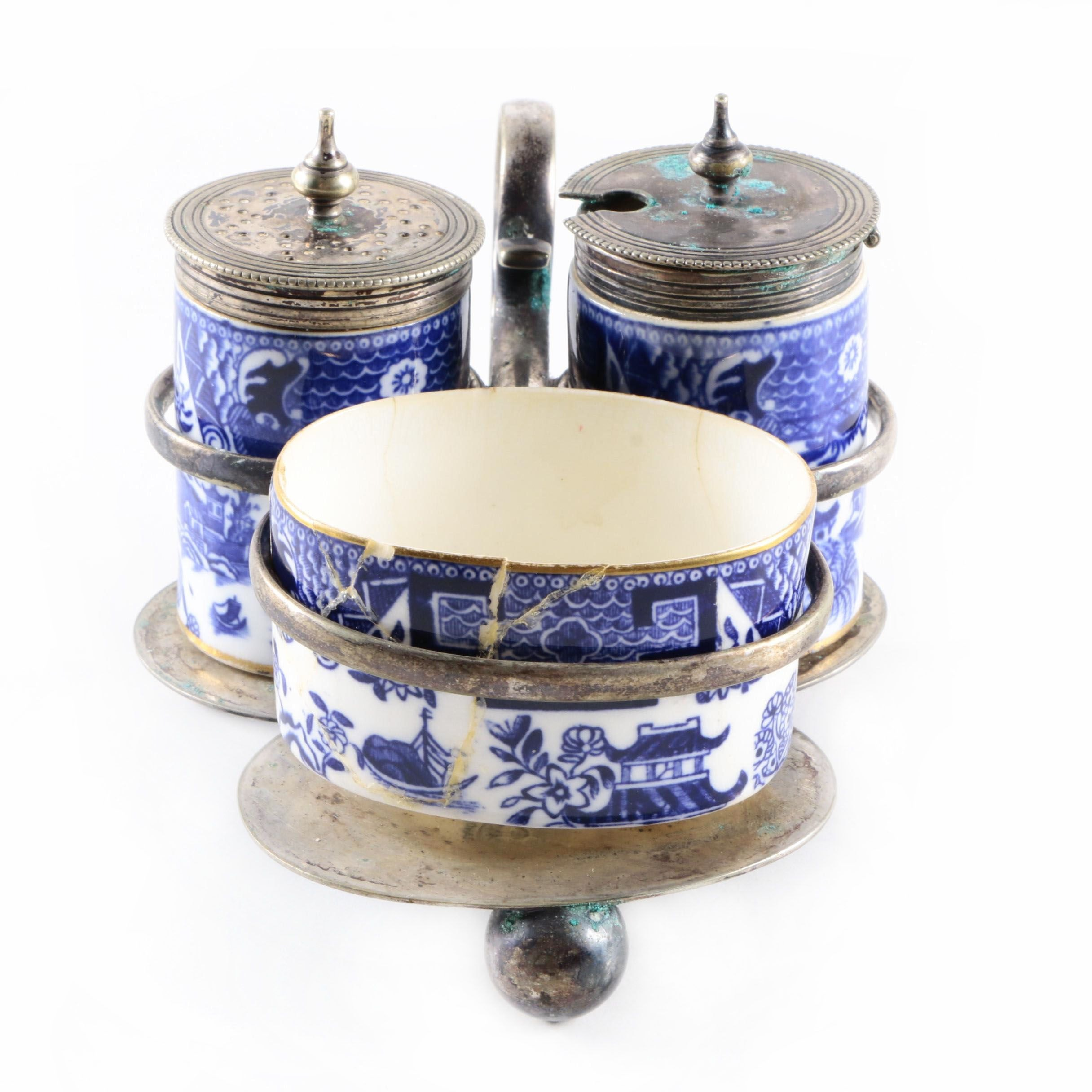 "Royal Worcester ""Blue Willow"" Porcelain Condiment Set with Silver Plate Stand"