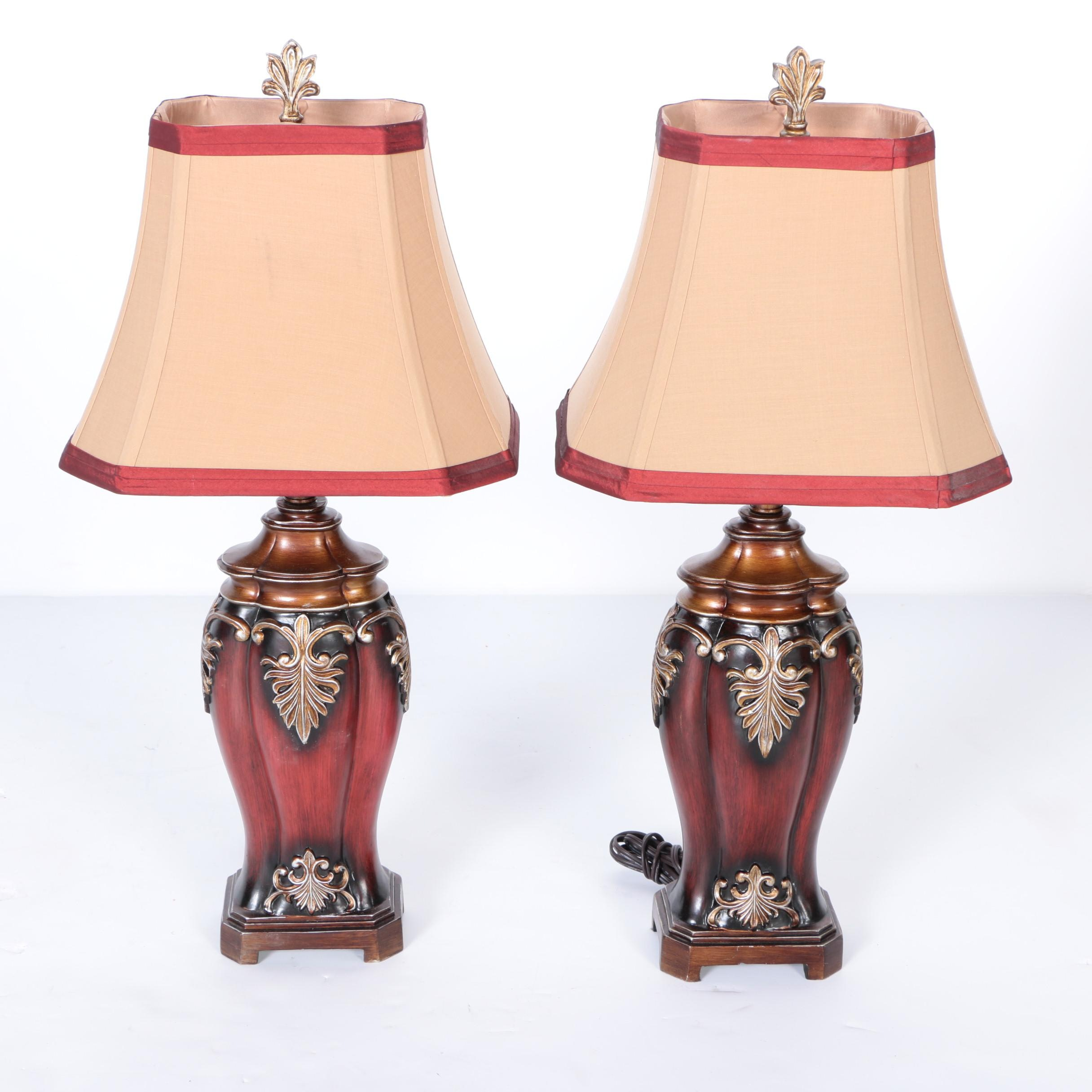 Gold Tone And Burgundy Table Lamps Ebth