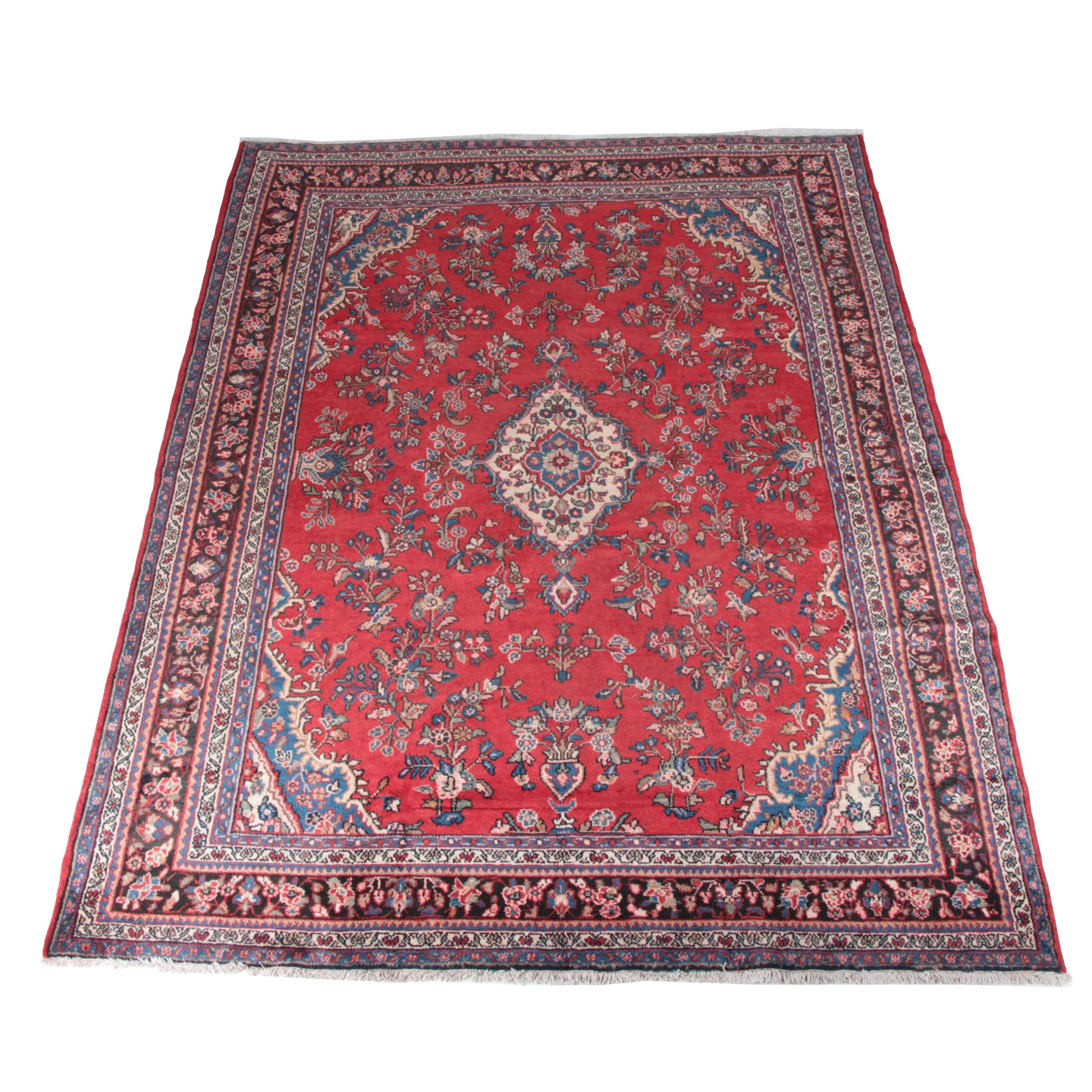Large Hand-Knotted Persian Hamadan Area Rug