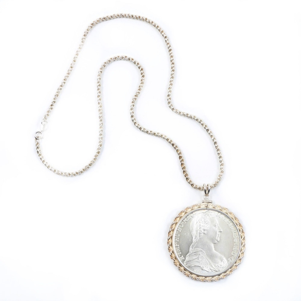 Sterling Silver Austrian Empress Maria Theresa Coin Pendant Necklace