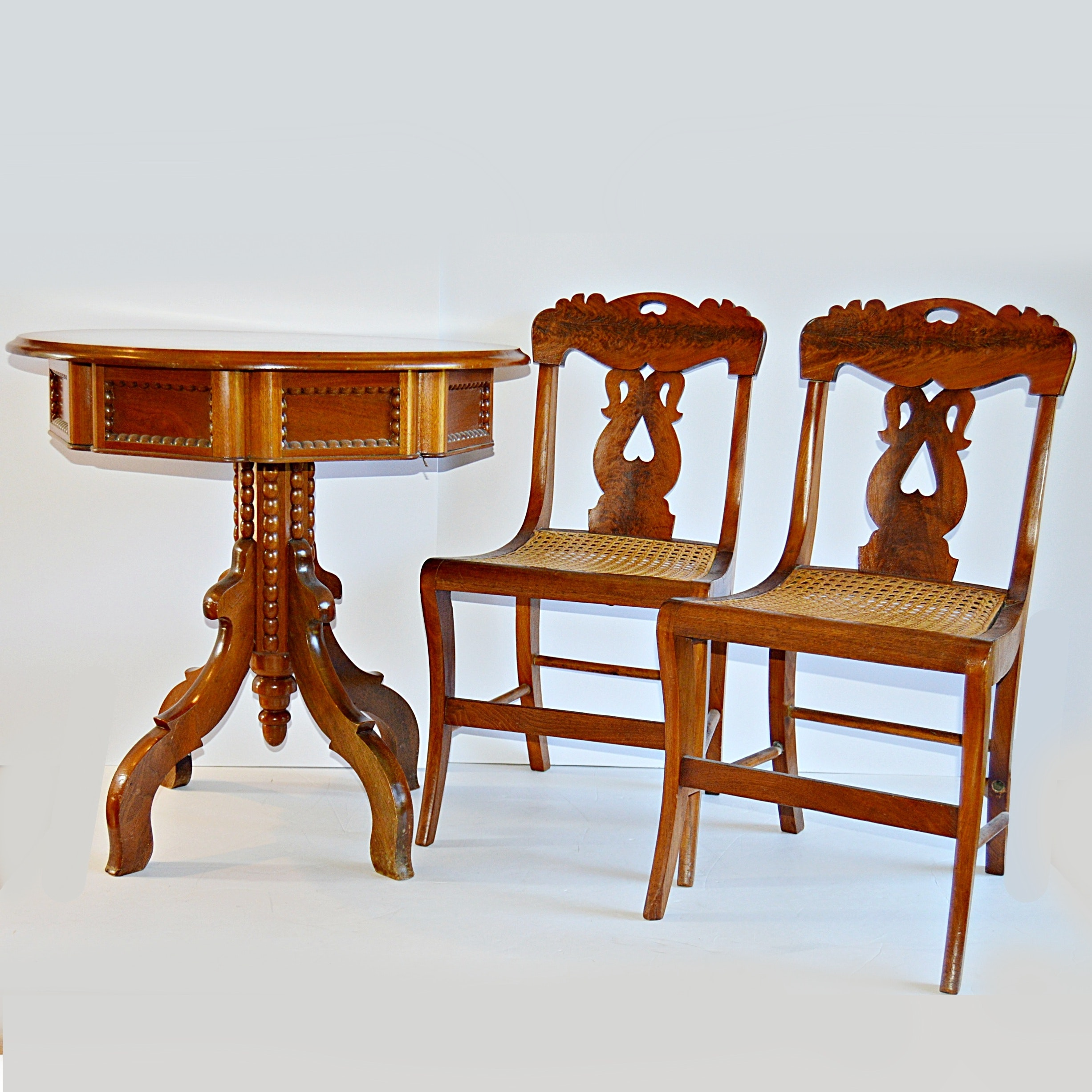 Vintage Round Side Table And Antique Side Chairs ...