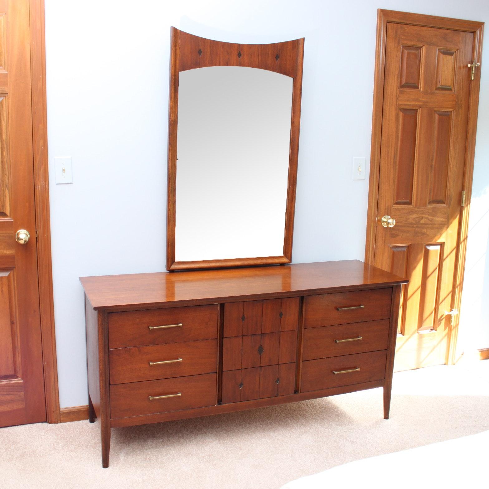 mid century modern dresser with mirror