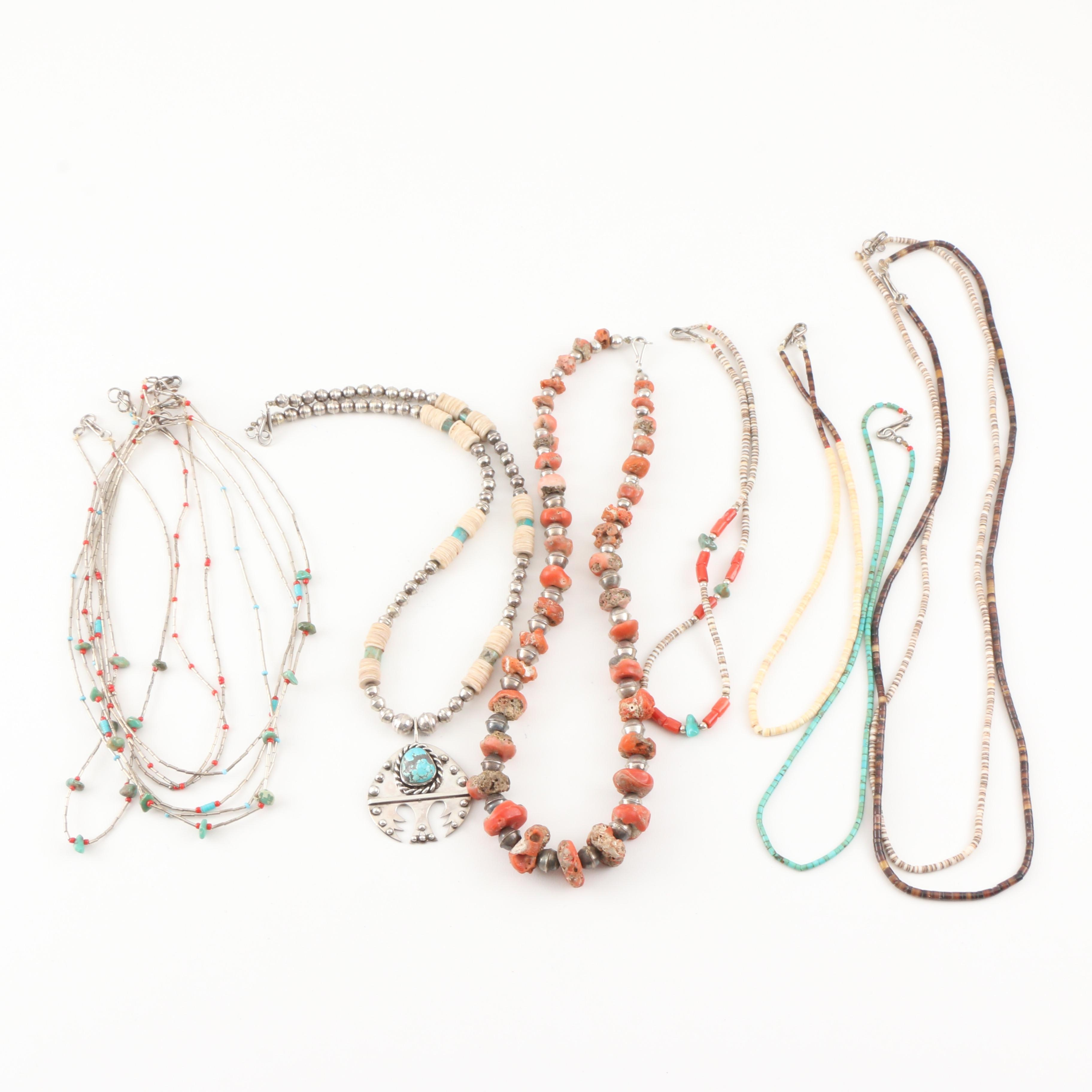 Assortment of Beaded Sterling Silver Necklaces Including Accents