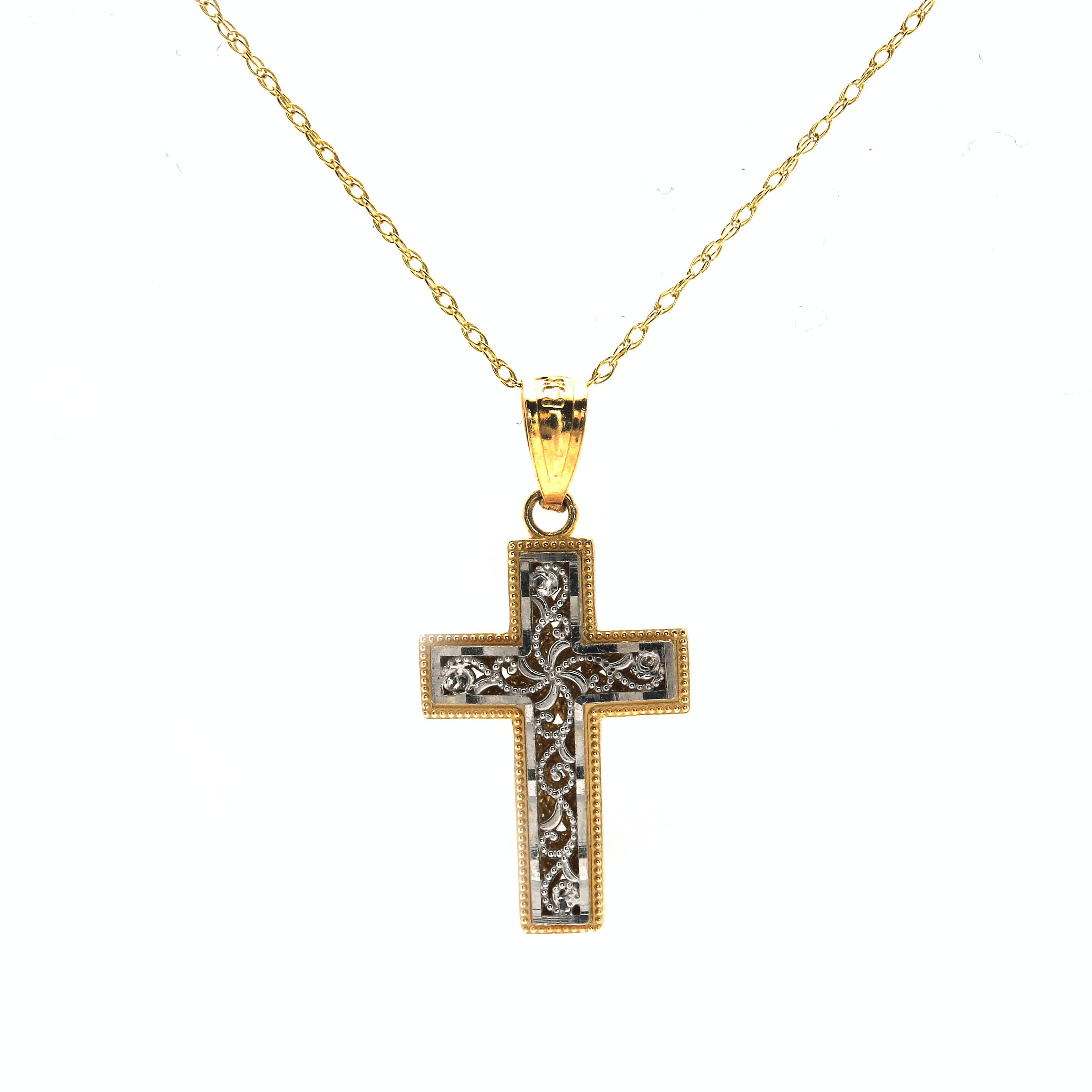 14K Yellow and White Gold Reversible Cross Necklace