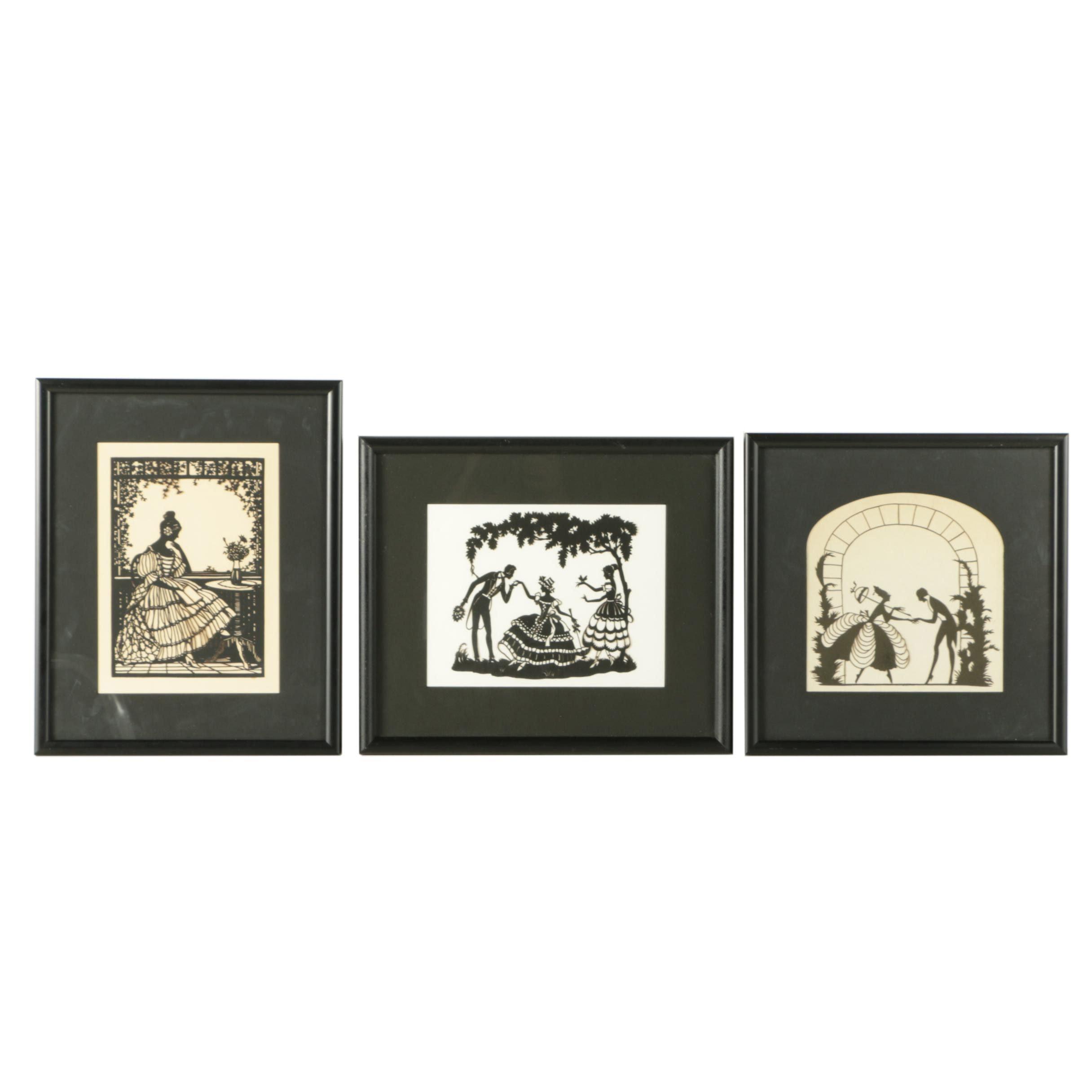 Set of Three Cut Paper Silhouettes of Genre Scenes