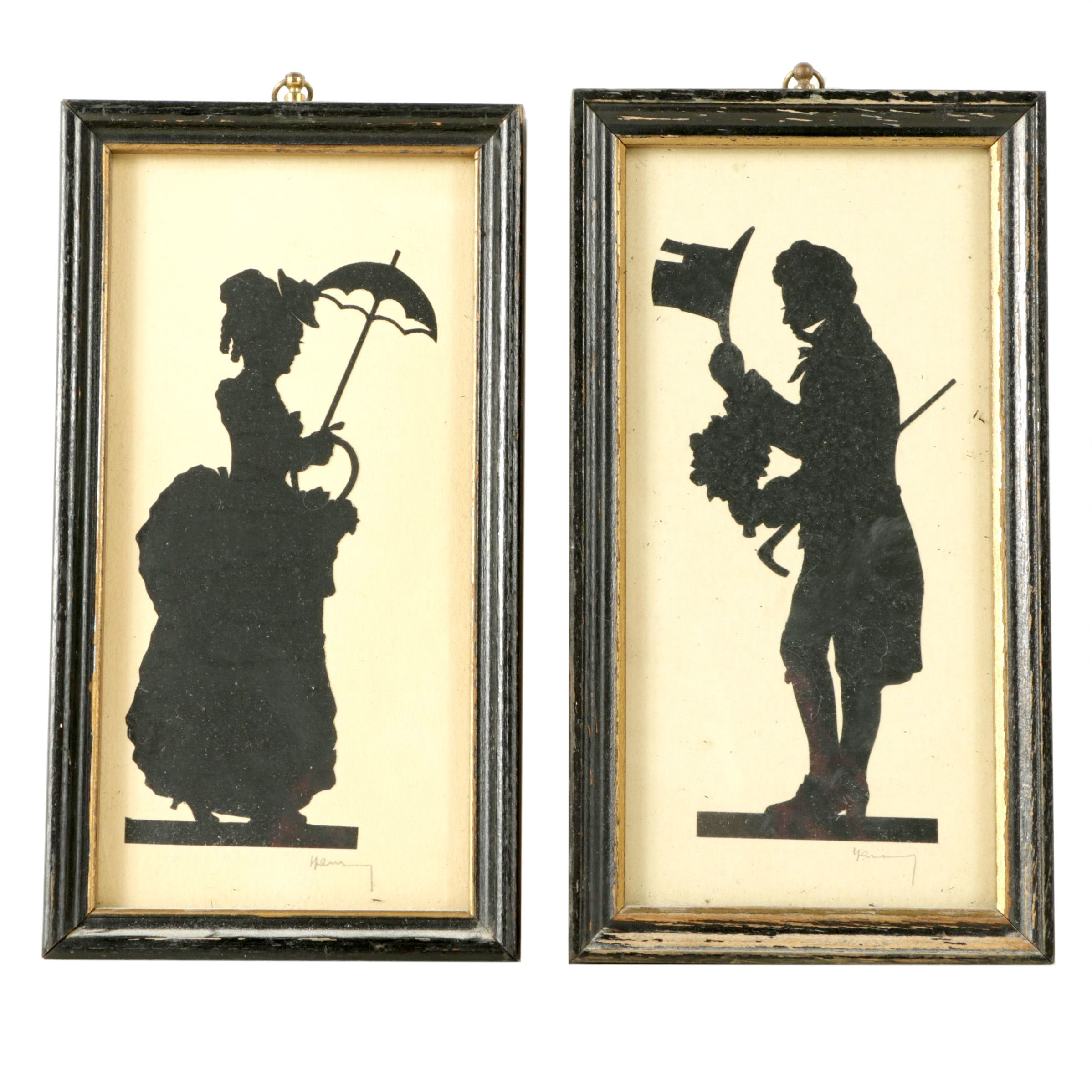 Pair of Victorian Cut Paper Silhouettes