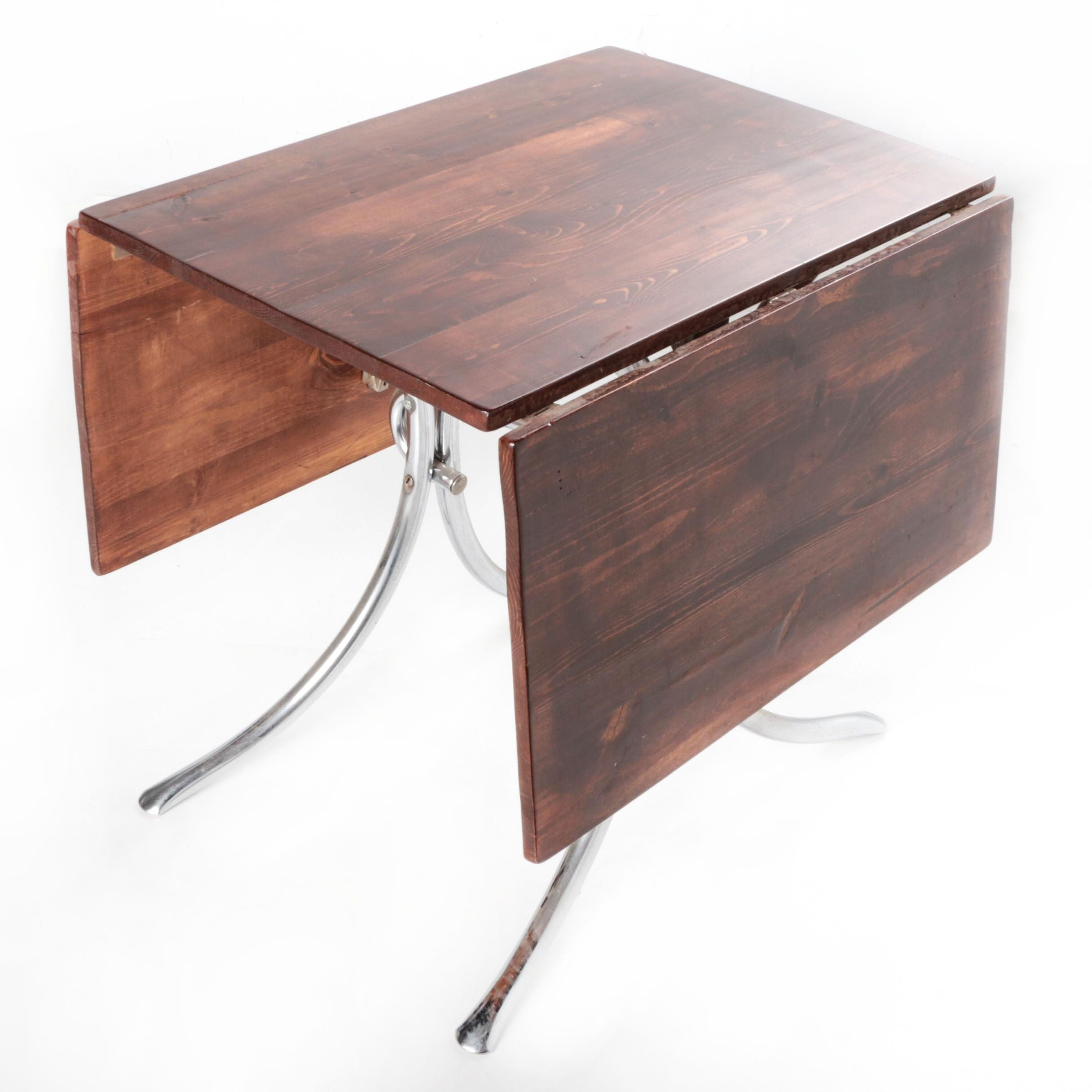 Contemporary Drop Leaf Table with Metal Legs