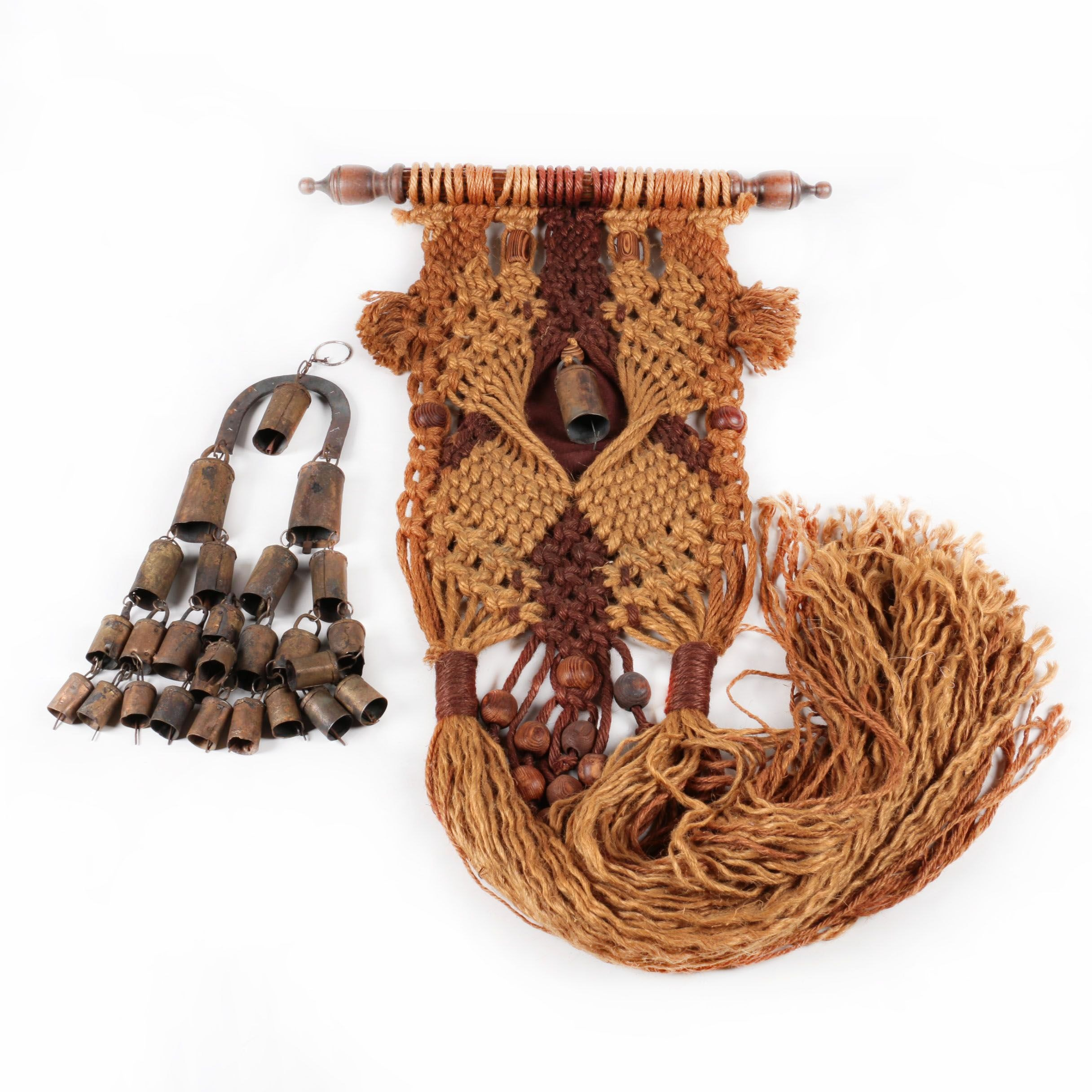 Woven Macrame Wall Hanging with Metal Bells