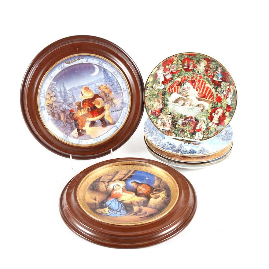 decorative christmas plates featuring hamilton and bradford exchange