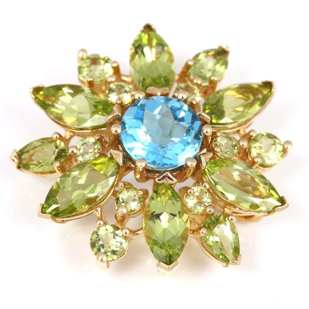 14K Yellow Gold, 3.50 CT Blue Topaz, and Peridot Brooch