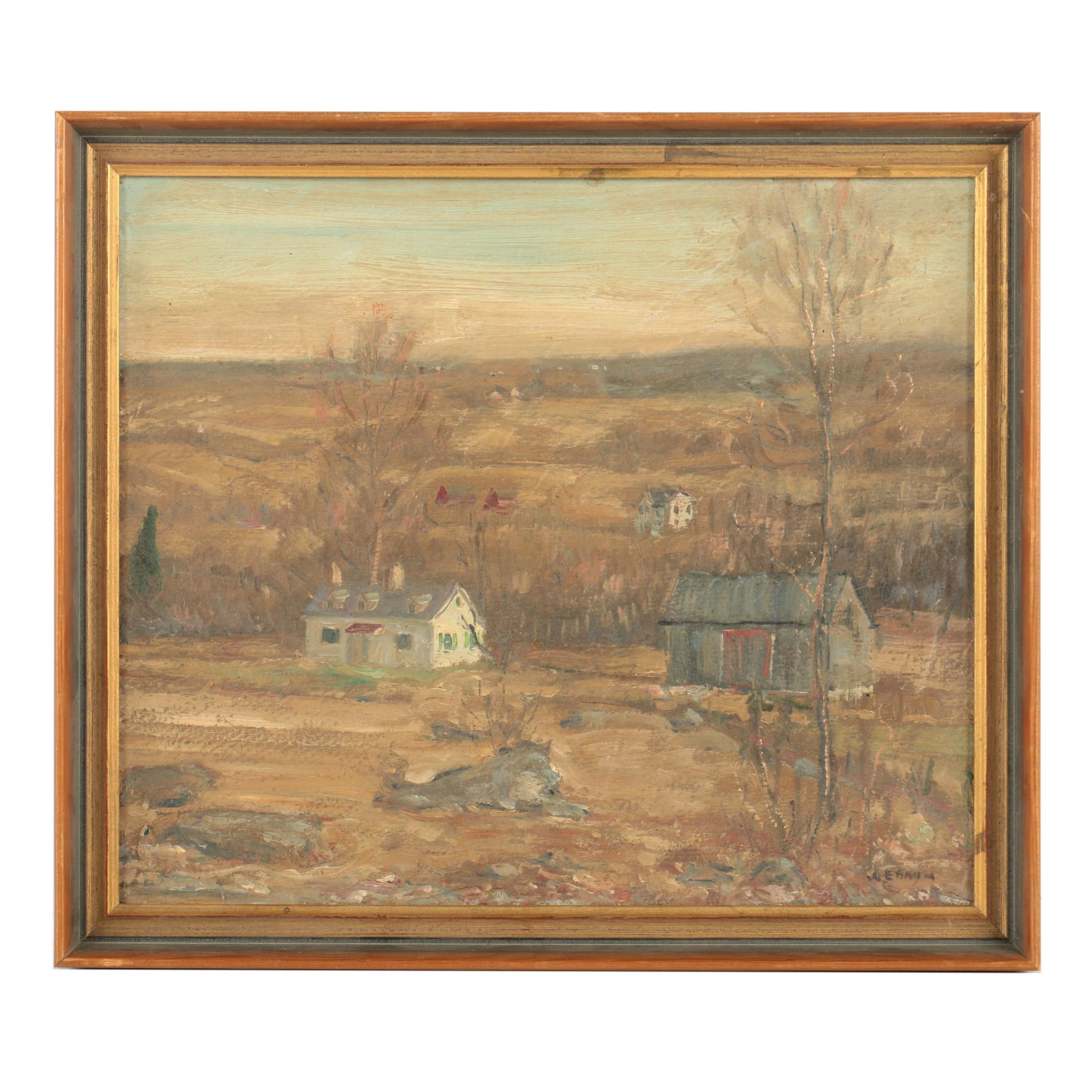 Oil Painting on Board of Farmscape