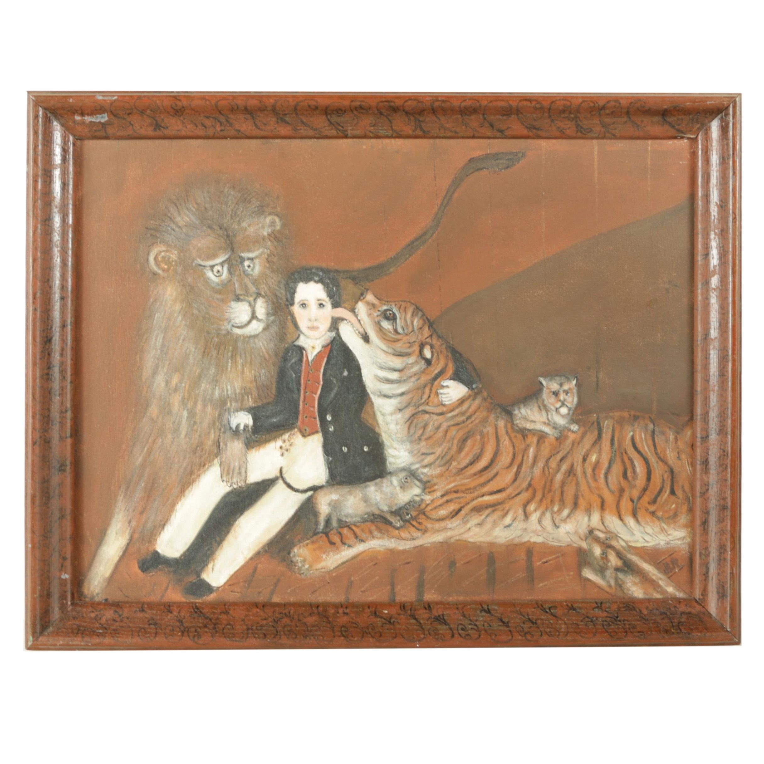 Oil Painting on Canvas of Child Lion Tamer
