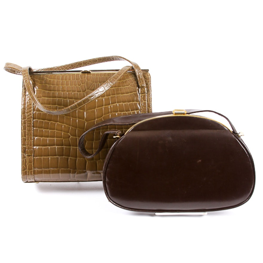 Pair Of Vintage French Leather Handbags