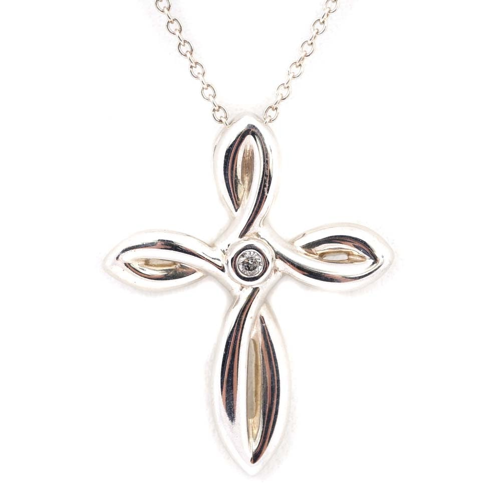 Sterling Silver and Diamond Cross Pendant Necklace