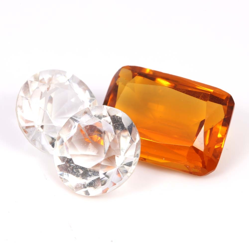 Loose 7.25 CT Citrine and 7.36 CTW Quartz Gemstones