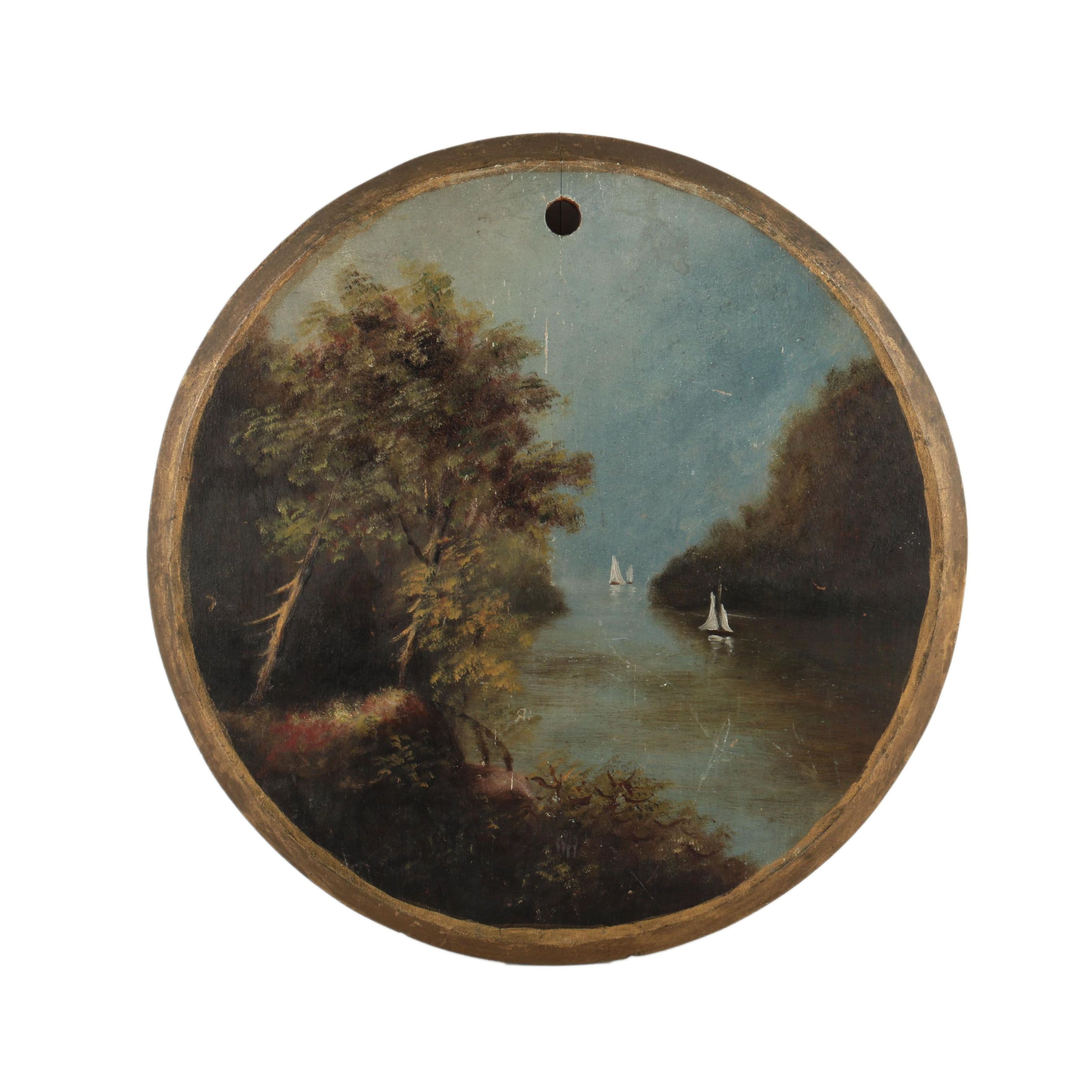 Small Oil Painting on Round Wooden Panel