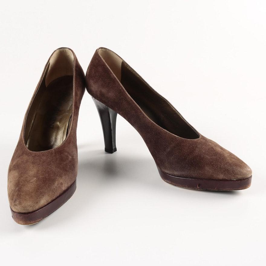 Women s Yves Saint Laurent Brown Suede Platform Heels   EBTH 6c6b7ba7e3