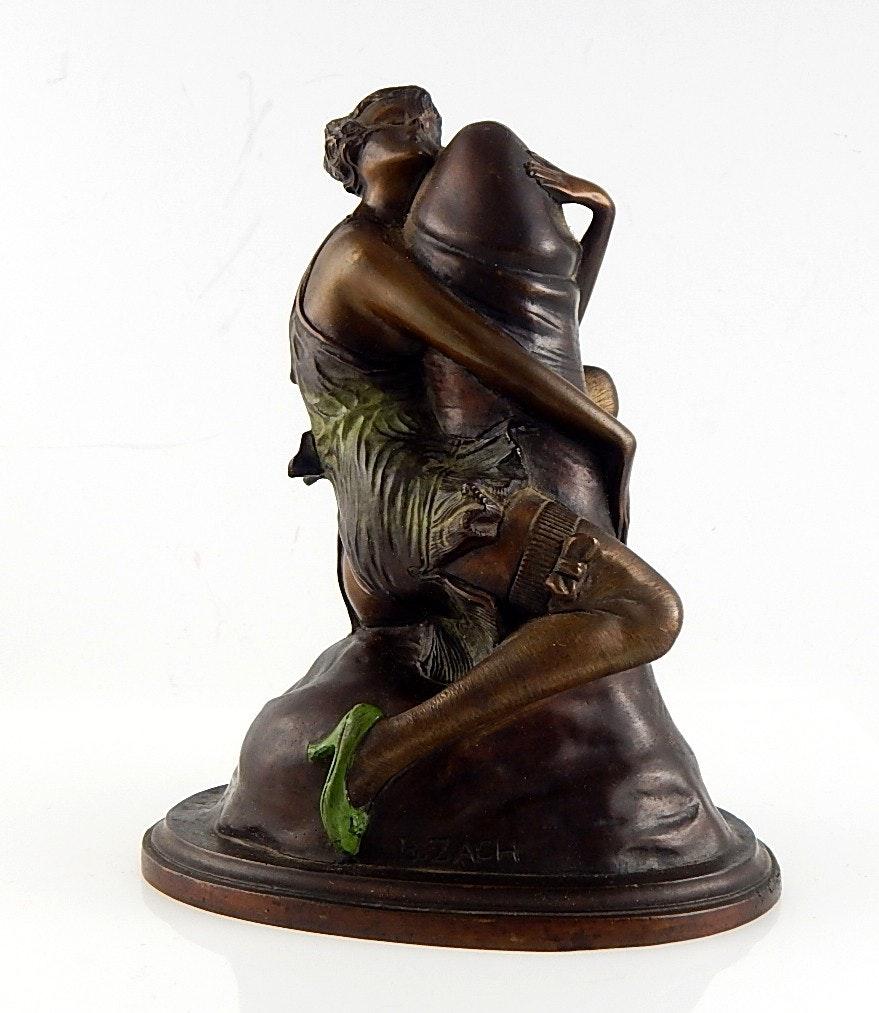 Signed Bruno Zach Quot The Hugger Quot Bronze Statue Ebth