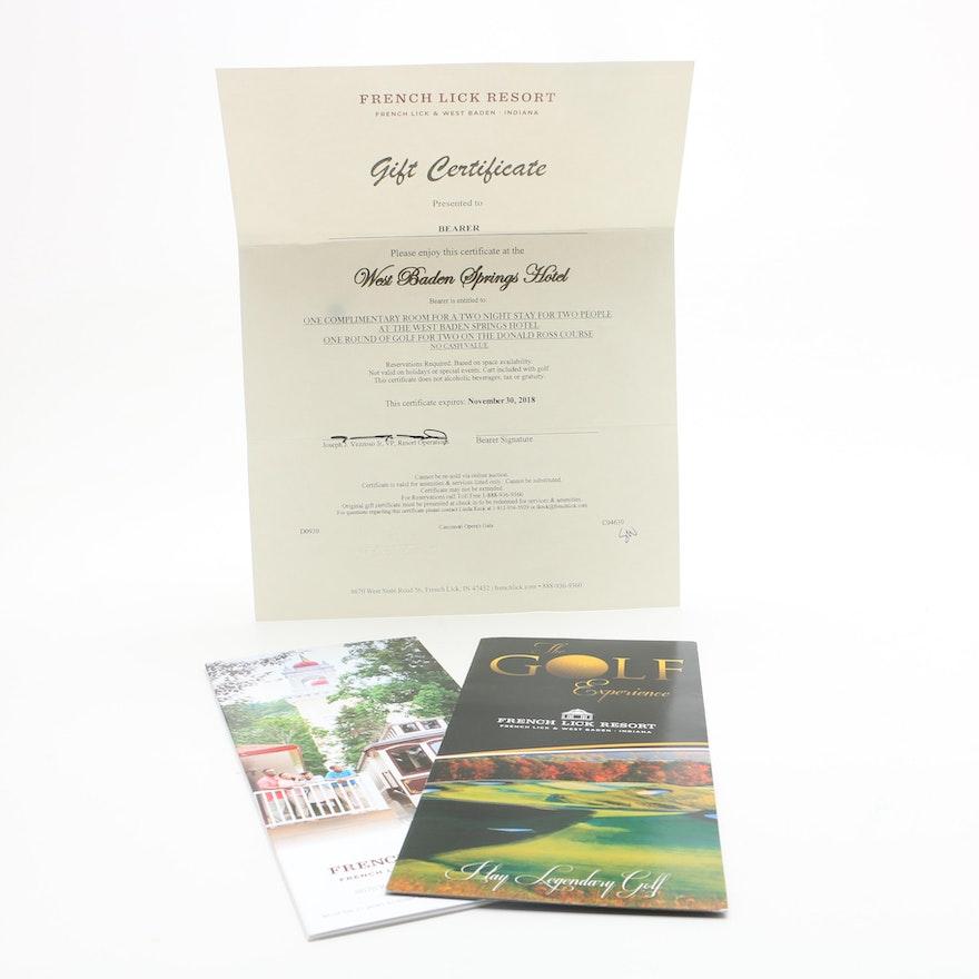 West Baden Springs Hotel Gift Certificate