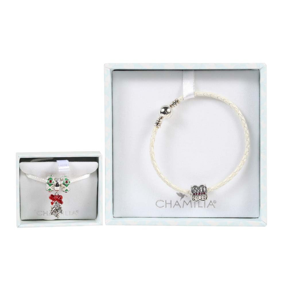 Chamilia Sterling Silver and Leather Charm Bracelet and Charms