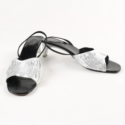 6932ef6b0 Gucci Silver and Black Sling-Back Heels